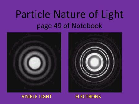 Particle Nature of Light page 49 of Notebook VISIBLE LIGHT ELECTRONS.