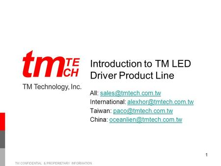 Introduction to TM LED Driver Product Line