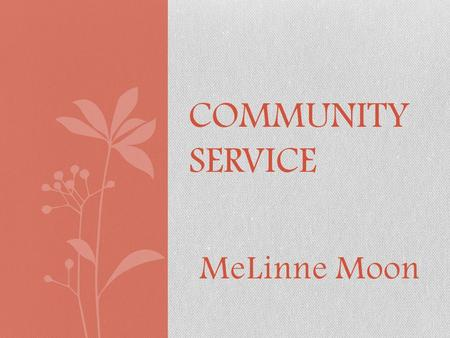 "MeLinne Moon COMMUNITY SERVICE. What is Community Service? ""Services volunteered by individuals or an organization to benefit a community or its institutions."""