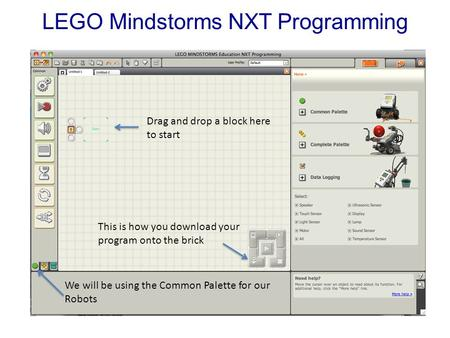 LEGO Mindstorms NXT Programming We will be using the Common Palette for our Robots This is how you download your program onto the brick Drag and drop a.
