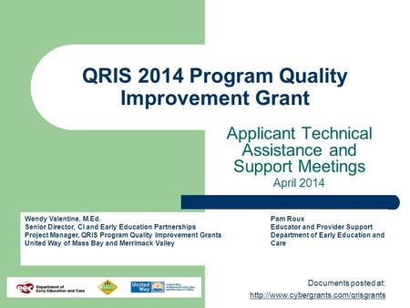 Documents posted at:   QRIS 2014 Program Quality Improvement Grant Applicant.