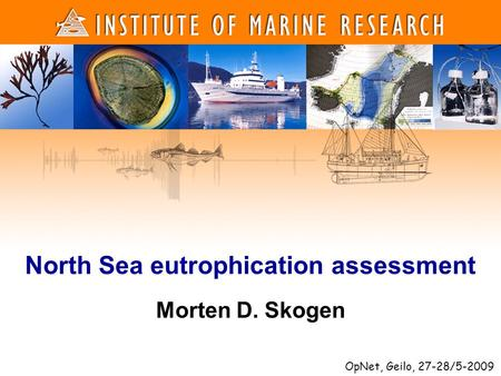 1 1 Morten D. Skogen North Sea eutrophication assessment OpNet, Geilo, 27-28/5-2009.