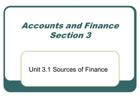 Accounts and Finance Section 3