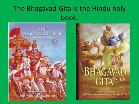 The Bhagavad Gita is the Hindu holy book.. The Bhagavad Gita was originally written in Sanskrit but has been translated into many other languages.