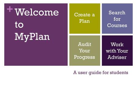 + A user guide for students Welcome to MyPlan Create a Plan Audit Your Progress Search for Courses Work with Your Adviser.