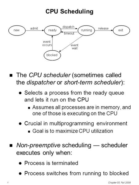 1Chapter 05, Fall 2008 CPU Scheduling The CPU scheduler (sometimes called the dispatcher or short-term scheduler): Selects a process from the ready queue.