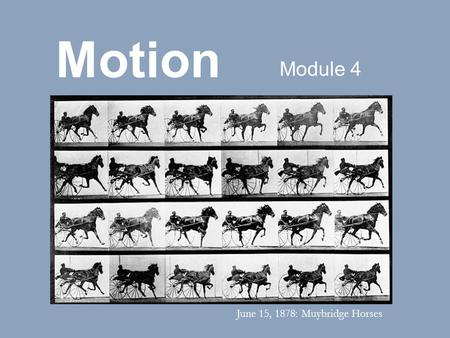Motion Module 4 June 15, 1878: Muybridge Horses. Shutter speed controls the amount of time that light is allowed to enter the camera. The speed of the.