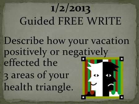 Guided FREE WRITE Describe how your vacation positively or negatively effected the 3 areas of your health triangle.