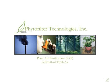 Plant Air Purification (PAP) A Breath of Fresh Air 1 Phytofilter Technologies, Inc.