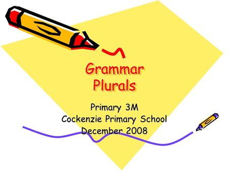 Grammar Plurals Primary 3M Cockenzie Primary School December 2008.