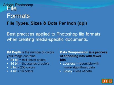 File Types, Sizes & Dots Per Inch (dpi) Best practices applied to Photoshop file formats when creating media-specific documents. Bit Depth is the number.