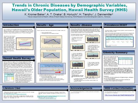 Trends in Chronic Diseases by Demographic Variables, Hawaii's Older Population, Hawaii Health Survey (HHS) K. Kromer Baker 1, A. T. Onaka 1, B. Horiuchi.