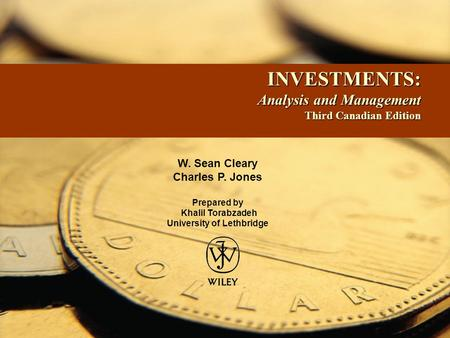 INVESTMENTS: Analysis and Management Third Canadian Edition