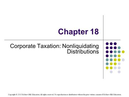 Corporate Taxation: Nonliquidating Distributions