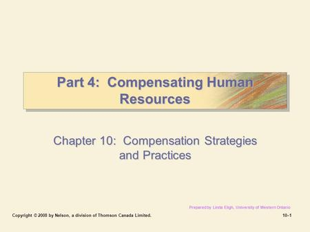 Part 4: Compensating Human Resources