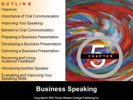Learning Objective Chapter 5 Business Speaking Copyright © 2001 South-Western College Publishing Co. Objectives O U T L I N E Improving Your Speaking Barriers.