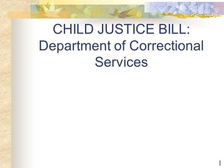 1 CHILD JUSTICE BILL: Department of Correctional Services.
