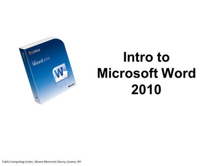 Intro to Microsoft Word 2010. The Microsoft Word Window will open up ready for you to create a new document 1 The ribbon, which sits above the document,
