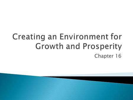 Chapter 16.  Identify the general sources of economic growth.  Identify specific institutional factors that promote economic growth.  Comprehend why.