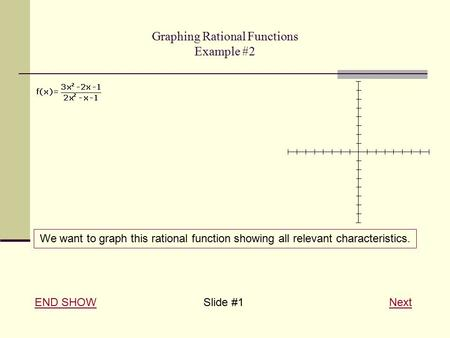 Graphing Rational Functions Example #2 END SHOWEND SHOW Slide #1 NextNext We want to graph this rational function showing all relevant characteristics.
