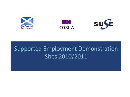 Supported Employment Demonstration Sites 2010/2011.