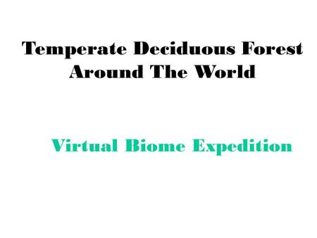 Temperate Deciduous Forest Around The World Virtual Biome Expedition.