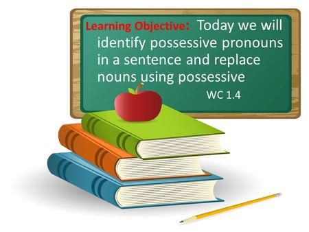 Learning Objective: Today we will identify possessive pronouns in a sentence and replace nouns using possessive WC 1.4 Do gestures with students. Open.