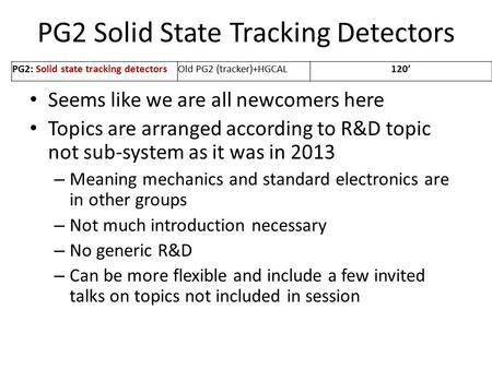 PG2 Solid State Tracking Detectors Seems like we are all newcomers here Topics are arranged according to R&D topic not sub-system as it was in 2013 – Meaning.