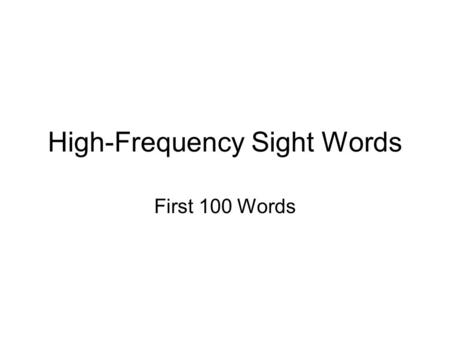 High-Frequency Sight Words