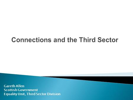 Connections and the Third Sector