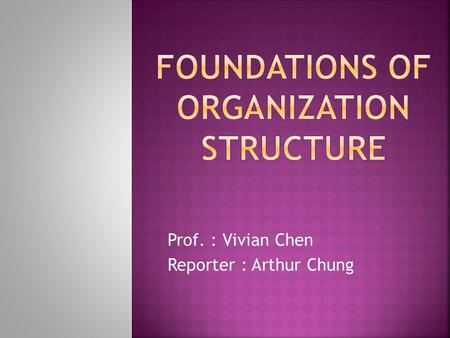 Prof. : Vivian Chen Reporter : Arthur Chung.  What is organization structure ?  Organization structure six key elements.  Common organizational design.