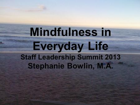 WHAT IS MINDFULNESS? Mindfulness in Everyday Life Staff Leadership Summit 2013 Stephanie Bowlin, M.A.