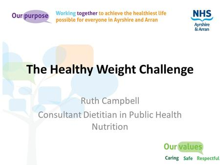 The Healthy Weight Challenge Ruth Campbell Consultant Dietitian in Public Health Nutrition.
