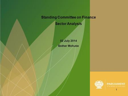 Standing Committee on Finance Sector Analysis 02 July 2014 Esther Mohube 1.