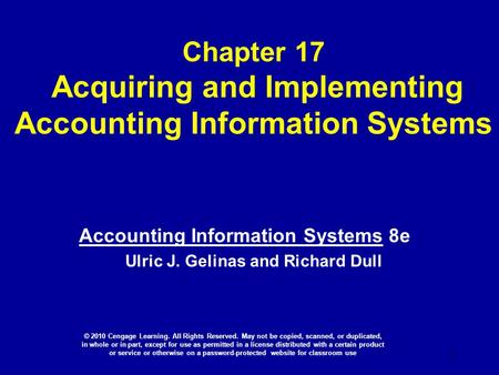 Chapter 17 Acquiring and Implementing Accounting Information Systems