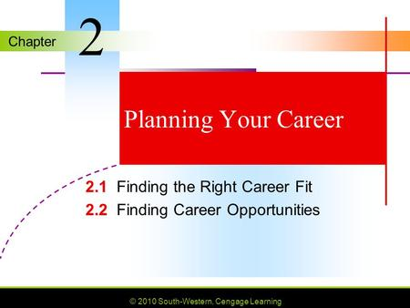 Chapter © 2010 South-Western, Cengage Learning Planning Your Career 2.1 2.1Finding the Right Career Fit 2.2 2.2Finding Career Opportunities 2.
