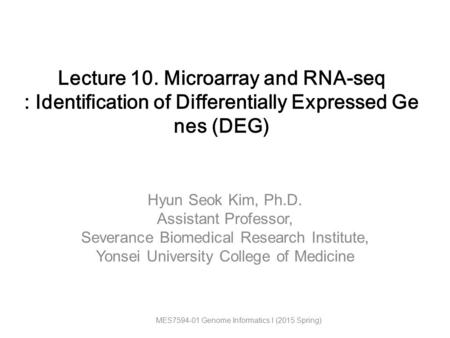 Lecture 10. Microarray and RNA-seq