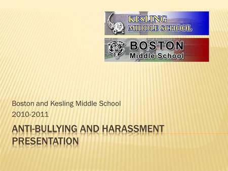 Boston and Kesling Middle School 2010-2011.  Bullying means overt, repeated acts or gestures including verbal or written communications transmitted;
