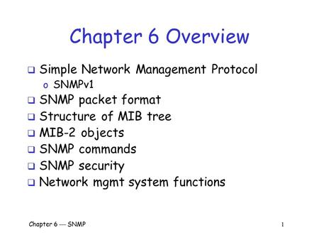 Chapter 6 Overview Simple Network Management Protocol