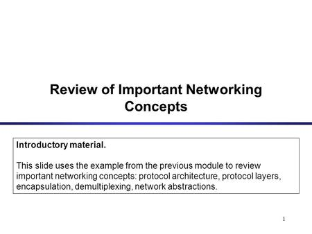 1 Review of Important Networking Concepts Introductory material. This slide uses the example from the previous module to review important networking concepts: