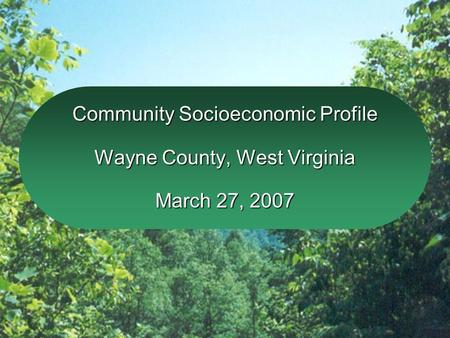 Community Socioeconomic Profile Wayne County, West Virginia March 27, 2007.