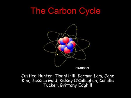 The Carbon Cycle Justice Hunter, Tionni Hill, Karman Lam, Jane Kim, Jessica Gold, Kelsey O'Callaghan, Camille Tucker, Brittany Edghill.