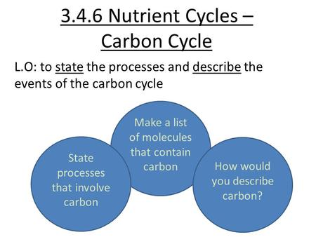3.4.6 Nutrient Cycles – Carbon Cycle L.O: to state the processes and describe the events of the carbon cycle Make a list of molecules that contain carbon.
