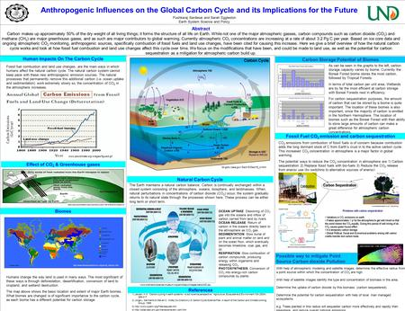 Anthropogenic Influences on the Global Carbon Cycle and its Implications for the Future Abstract Carbon makes up approximately 50% of the dry weight of.