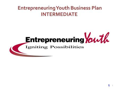 1 Entrepreneuring Youth Business Plan INTERMEDIATE 1.