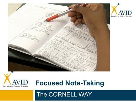Focused Note-Taking The CORNELL WAY.