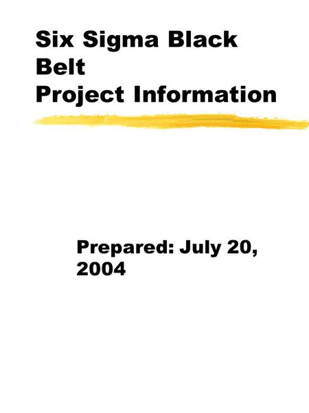 Six Sigma Black Belt Project Information Prepared: July 20, 2004.