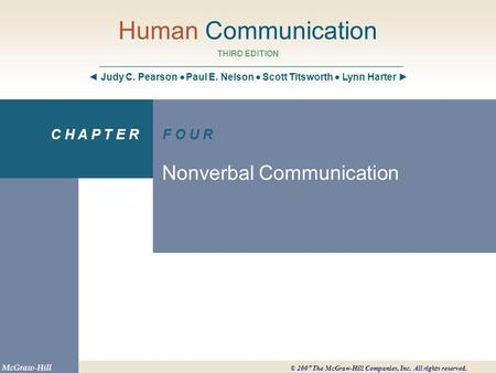Chapter 4 Objectives Define nonverbal communication