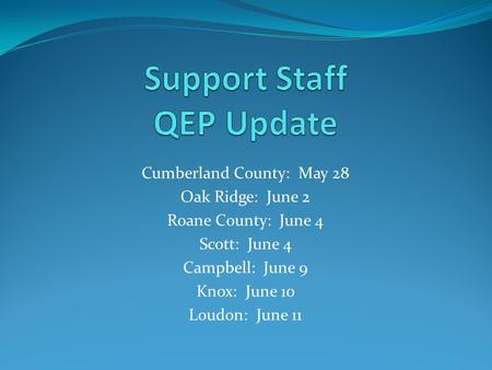 Cumberland County: May 28 Oak Ridge: June 2 Roane County: June 4 Scott: June 4 Campbell: June 9 Knox: June 10 Loudon: June 11.