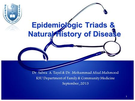 Epidemiologic Triads & Natural History of Disease